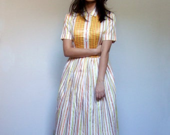 60s Party Dress Yellow White Short Sleeve Shirt Dress 1960s Button Up Day Dress - Large L