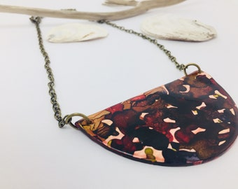 Cameo Statement Necklace Polymer Clay Necklace Boho Bib Necklace Alcohol Ink Art Deco Necklace Contemporary Jewelry Bohemian Modernist