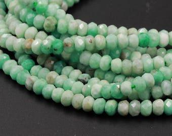 "Micro Faceted Small Natural African Green Emerald Faceted Rondelle 5mm x 3mm Beads Diamond Cut Gemstone 16"" Strand"