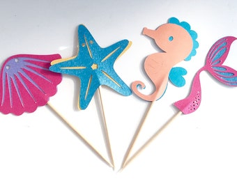 Under the Sea Cupcake Toppers, Mermaid, Starfish, Clam, Seahorse,