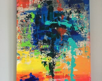 Abstract Acrylic Painting, Art on Canvas,Abstract Art, Acrylic Painting, modern and colorful
