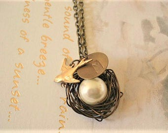 Bird Nest Necklace Personalized Necklace Pearl Necklace Birdnest Necklace Pregnant Mom Necklace Jewelry Monogram Necklace
