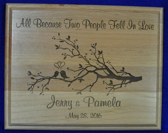 Anniversary Gift ~ Gift For Couple ~ Engraved Wedding Gift ~ Wedding Gift For Couple ~ Love Birds Sign ~ Custom Engraved Gifts ~ Anniversary