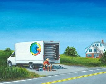 GICLEE Fine Art Reproductions on 8.5x11 PAPER - Happy Dude by Daina Scarola (Happy Dudes Surf Rentals, Nova Scotia)