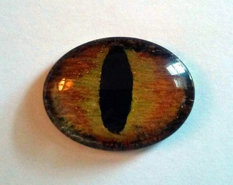 Golden Hand Painted Glass Dragon Eye 30 x 40 mm Oval Glass Eye Fantasy Jewelry Supplies Fastasy Steampunk Sci Fi Cosplay Pendant