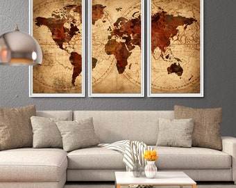 World Map Antique Map, World map poster, World map wall art, vintage world map, Large world map, large world map poster, world map art(L17)