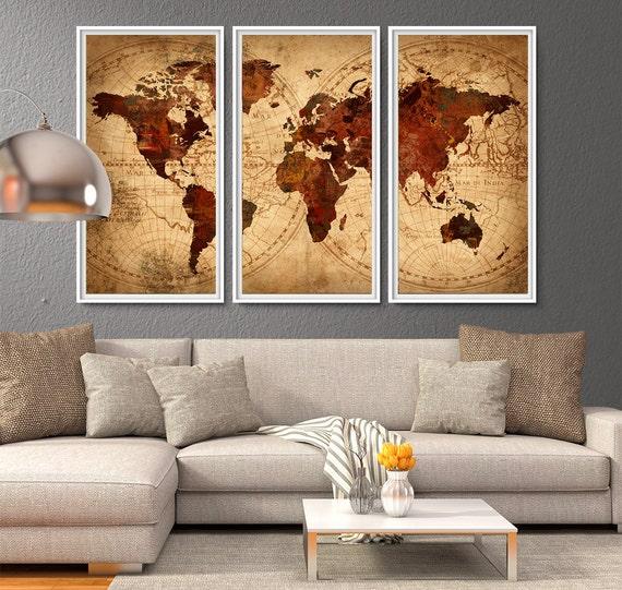 World Map Antique Map World map poster World map wall art