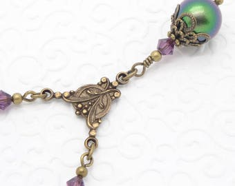 Scarabaeus Green Neo Victorian Necklace with Swarovski Pearls and Purple Crystals