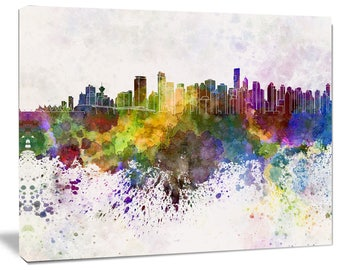 Vancouver Skyline - Cityscape Canvas and Metal Artwork Print - (PT6570)