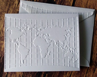 5 World Map Cards, White Embossed Globe, Atlas, Map Note Card Set, Blank Traveler Note Cards, Gift for Travelers, Map Greeting Card Set