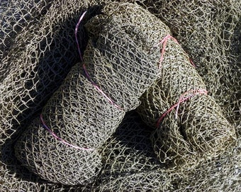 THE Fleets In!~ Authentic Used Commerical Nylon Fishing Nets~ Fish Netting ~95 to 105 sq. ft.( Does Not Include Floats)
