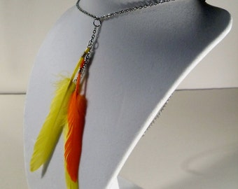Yellow & Orange Feather Silver Chain Dangly Boho Necklace