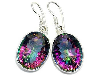 rainbow natural cut topaz fire emerald sterling item real earrings fashion solid mystic genuine stud silver