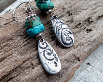 Wabi Sabi Earrings || Mixed Match Earrings | Pewter and Turquoise | Earthy | Organic | Boho | Hippie | Limited Edition | Earrings Under 25