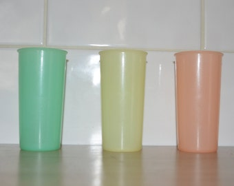 Three - pastel colors - vintage kitchen or picnic retro Tupperware cups - party
