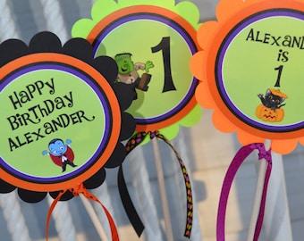 Halloween Birthday Centerpiece Sticks, 1st Birthday, Halloween Birthday Decorations, Halloween Party, Trick or Treat Party - Set of 3