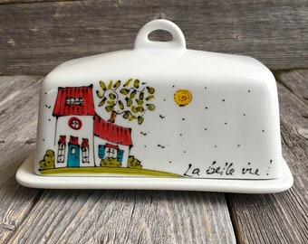 """Porcelain butter dish - house illustration -  """"Life is beautiful"""" hand painted by artist Isabelle Malo"""