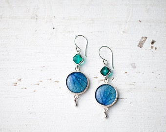 Blue and green earring, Blue flower dangle earrings, Silver drop earrings, Blue Flower earrings, Hydrangea jewelry