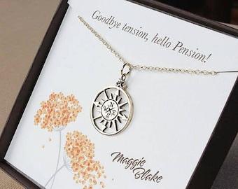 Goodbye tension hello pension gold retirement necklace gold compass necklace retirement gift for her retirement gift for women