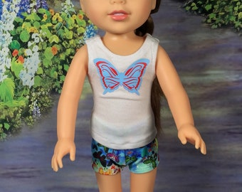 """Shorts outfit fits Wellie Wisher, Tank top, Shorts and shirt for 14"""" dolls, Summer clothes for Wellie, Lycra stretch shorts, Wellie size"""