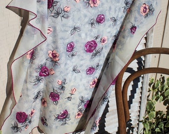 Vintage. Square/sheer/floral/white/purple/pink/scarf. Beautiful scarf! 1960s.