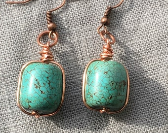 Turquoise Dyed Magnesite Earrings