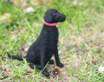 Needle felted seated Black Labrador Retriever