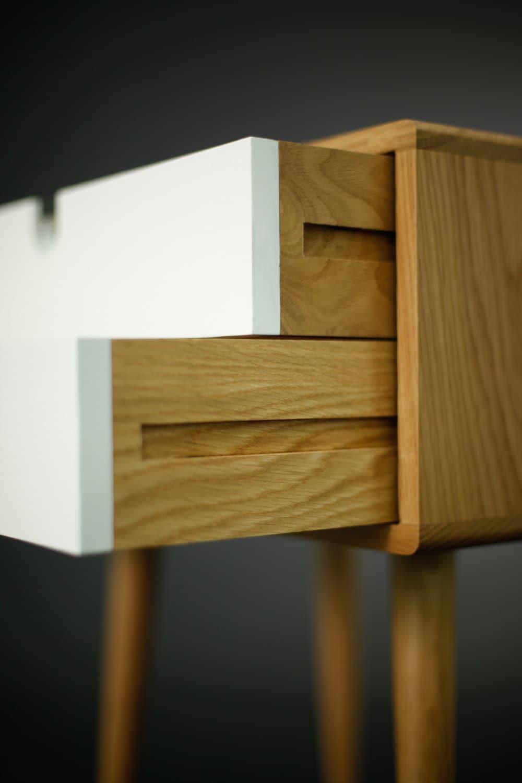 Oak Wood White Bedside Table Nightstand Mid Century