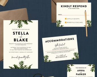 Modern Botanical Greenery Wedding Invitation // Down Payment towards Printed Sets // Minimalistic Invitation, Garden Invitation