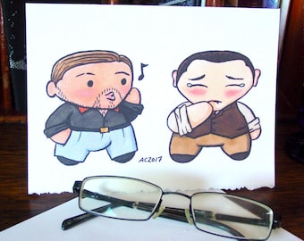 Inception Greeting Card - Chibi Arthur and Eames - Eames Whistling and Arthur Blushing