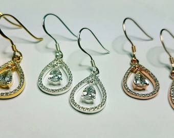 Sterling Silver Earrings, Rose Gold earrings, Yellow Gold Earrings, Cubic Zirconia Earrings