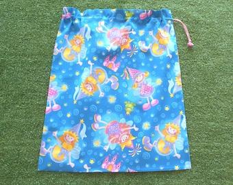Fairies drawstring library bag for girls, large toy bag, kindy sheet bag or storage bag