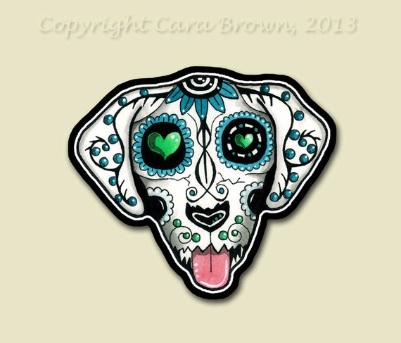 Small sugar skull dog sticker day of the dead vinyl iphone