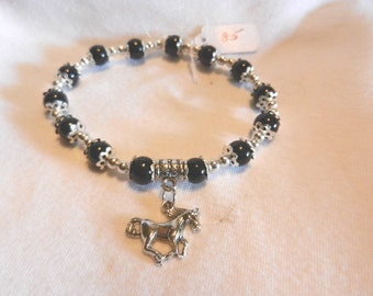 NeW Running Horse Charming Beads Stretch Western Cowgirl Cowboy Bracelet