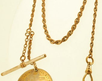 """13.5"""" twisted oval link yellow gold filled Albert style vintage pocket watch chain, matching Boy Scouts fob"""