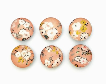 Peach, Magnets,  Floral, Stylish Magnets, Tiny Flowers, Bubble Magnet, Office Magnets, Coworker Gift, Best Friend Gift, Refrigerator Magnets