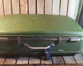 Large Green Suitcase, Wornout Suitcase, Distressed Suitcase, Suitcase With Duct Tape