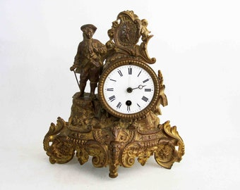 Antique Victorian Era Gilded Table Clock in French Baroque Style. Circa 1870's - 1890's.
