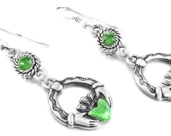 Claddagh Earrings, Saint Patricks Day Earrings, Shamrock Earrings, Celtic Earrings, Irish Earrings