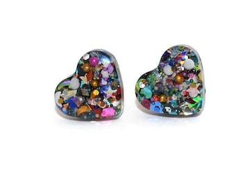 Rainbow Confetti Heart Earrings Multi Color Glitter Sparkly Studs Cute Girly Bold Chunky Ear Studs Hypoallergenic Stainless Steel Posts