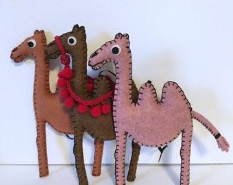 camel stuffed animal - desert theme nursery decor - animal nursery wall decor - small pink camel hanging mobile - hand sewn by HibouDesigns