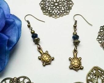 Earrings, turtle, turtle, glass bead, children's jewelry, kids