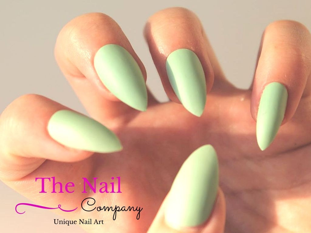 Mint Green Matte False Nails Set of Handpainted Fake Nails