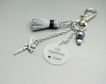 """porte clé liberty cabochon """"Super Marraine"""" coeur clef personnalisable"""