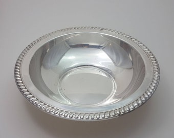 Silver Bowl with Roped Edging Marked by WM Rogers