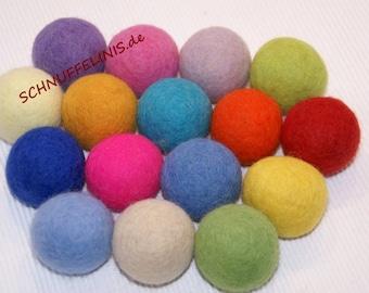Felt balls as big as a golf ball, Jumbo 4cm, lots of fun for kids, felt balls 16color, 100% pure felt wool