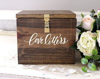 "Wedding Card Box, Love Letters, Wooden Card Box, Large Card Box, Card Box with Locking Lid, Rustic Wedding Decor, B-1 | 10""x10"""