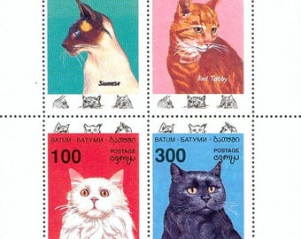Fabulous Cat Postage Stamps from Batum - 3 Sheets - 1994 - Siamese, Tabby, British Black, White - Collage, Scrapbooking, Crafts, Card Making