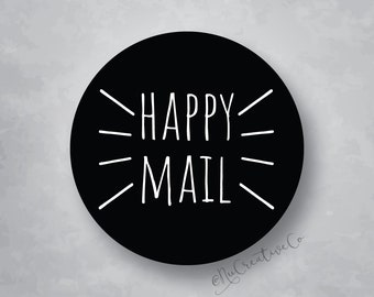 Happy Mail Package Label - Sticker - You choose the size and color - Decal - Package or Box Seal - Stickers - Logo - Marketing - Gift Bag
