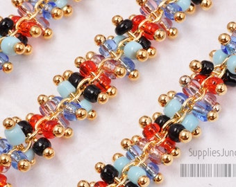 C200-MT// Gold Plated Multi Beads Chain, 1 meter (100cm)